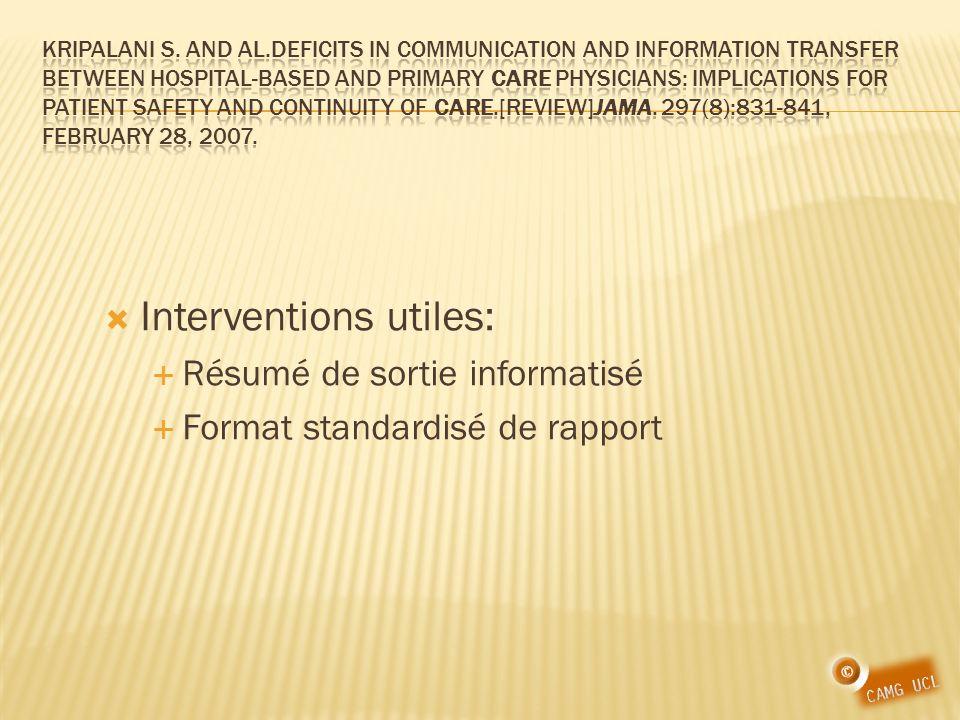Interventions utiles: