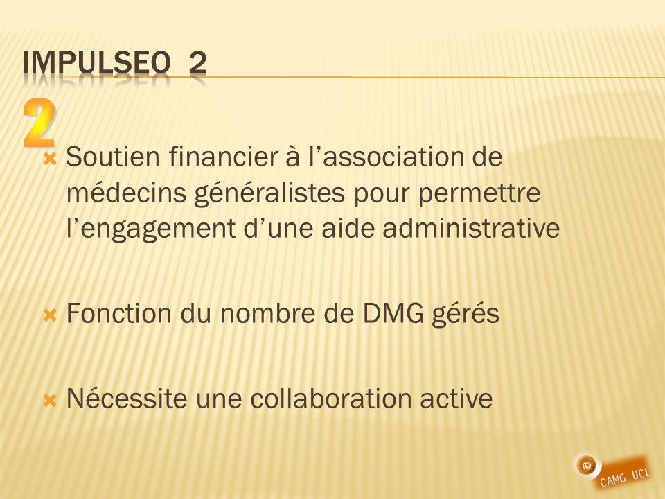 IMPULSEO 2 2. Soutien financier à l'association de médecins généralistes pour permettre l'engagement d'une aide administrative.