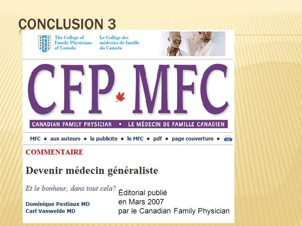 Conclusion 3 Éditorial publié en Mars 2007