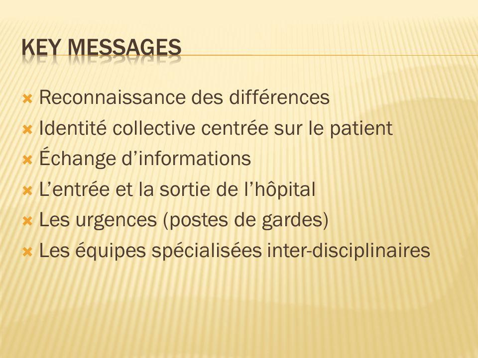 Key messages Reconnaissance des différences