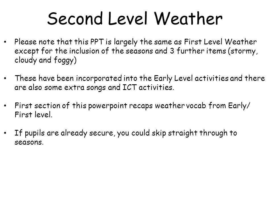 Second Level Weather