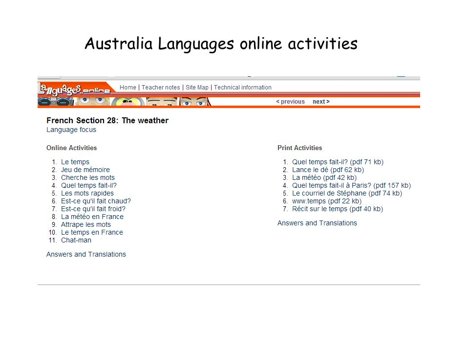 Australia Languages online activities