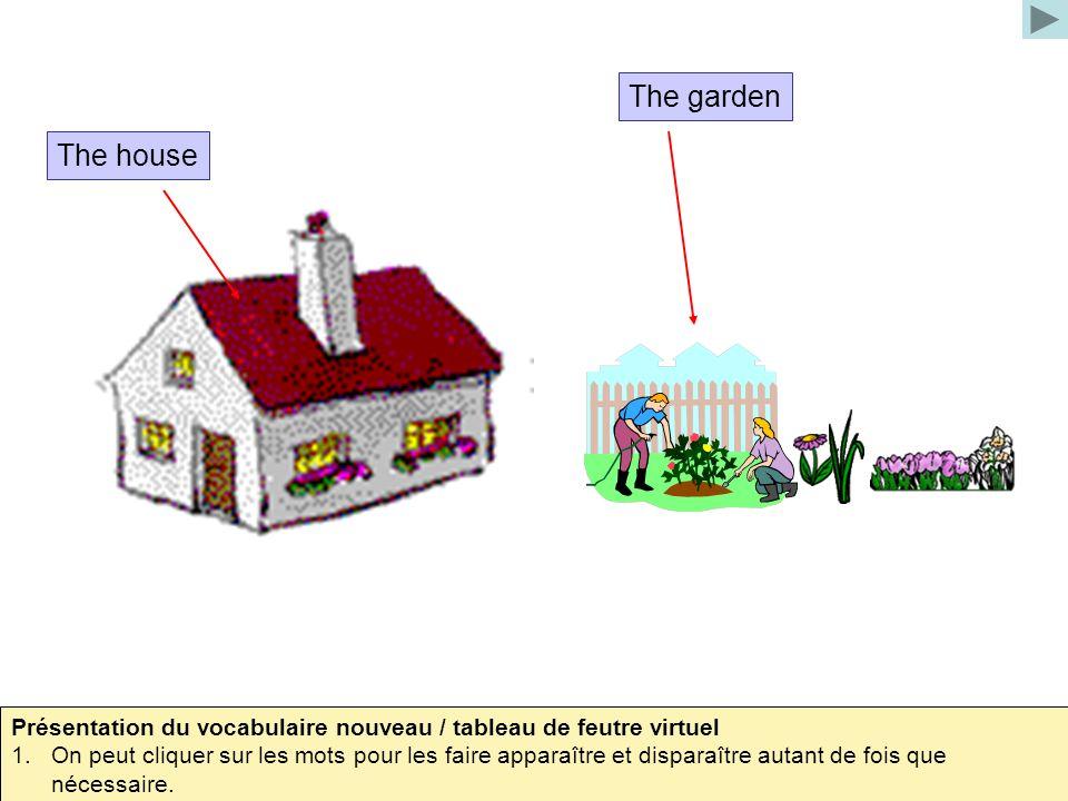 The garden The house. Présentation du vocabulaire nouveau / tableau de feutre virtuel.