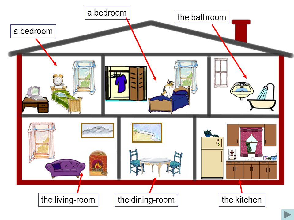 a bedroom the bathroom a bedroom the living-room the dining-room the kitchen