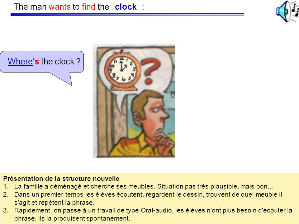 The man wants to find the : clock