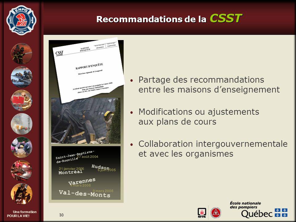 Recommandations de la CSST