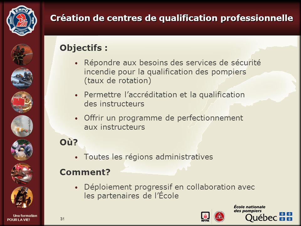 Création de centres de qualification professionnelle