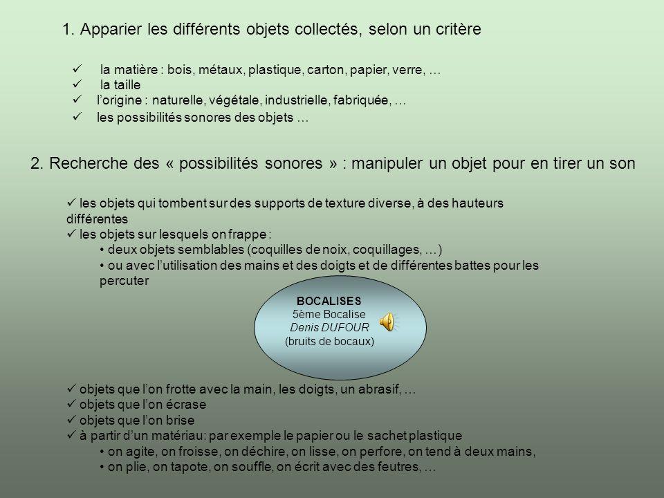 1. Apparier les différents objets collectés, selon un critère