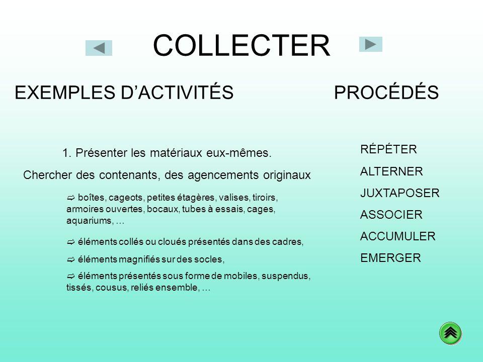 COLLECTER EXEMPLES D'ACTIVITÉS PROCÉDÉS RÉPÉTER