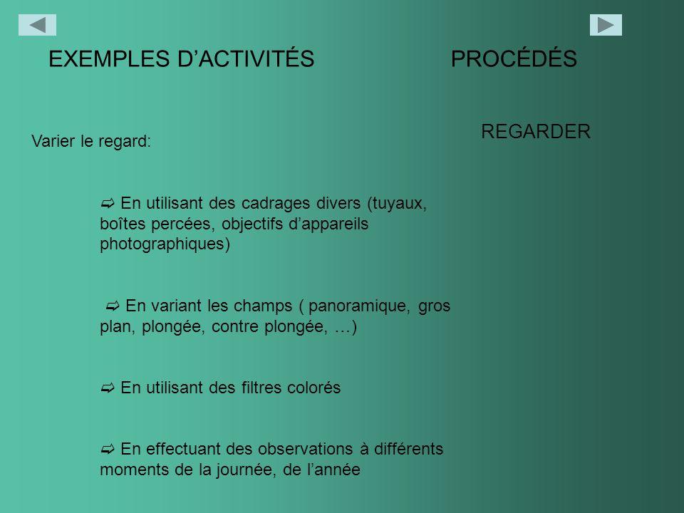 EXEMPLES D'ACTIVITÉS PROCÉDÉS REGARDER Varier le regard: