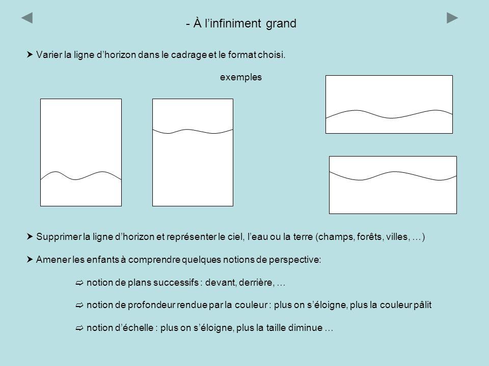 - À l'infiniment grand  Varier la ligne d'horizon dans le cadrage et le format choisi. exemples.