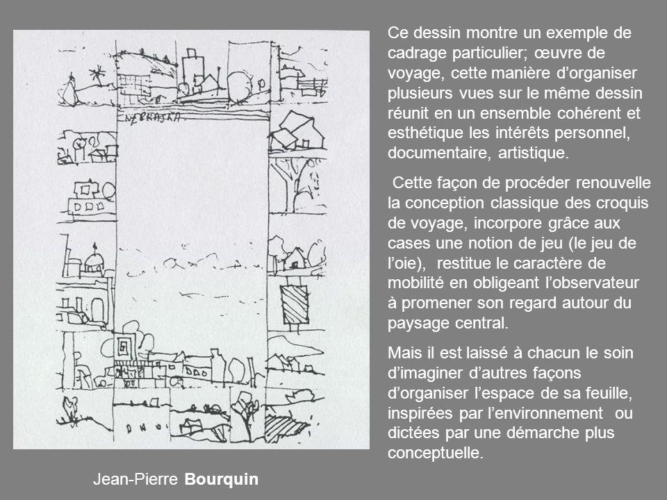 Ce dessin montre un exemple de cadrage particulier; œuvre de voyage, cette manière d'organiser plusieurs vues sur le même dessin réunit en un ensemble cohérent et esthétique les intérêts personnel, documentaire, artistique.