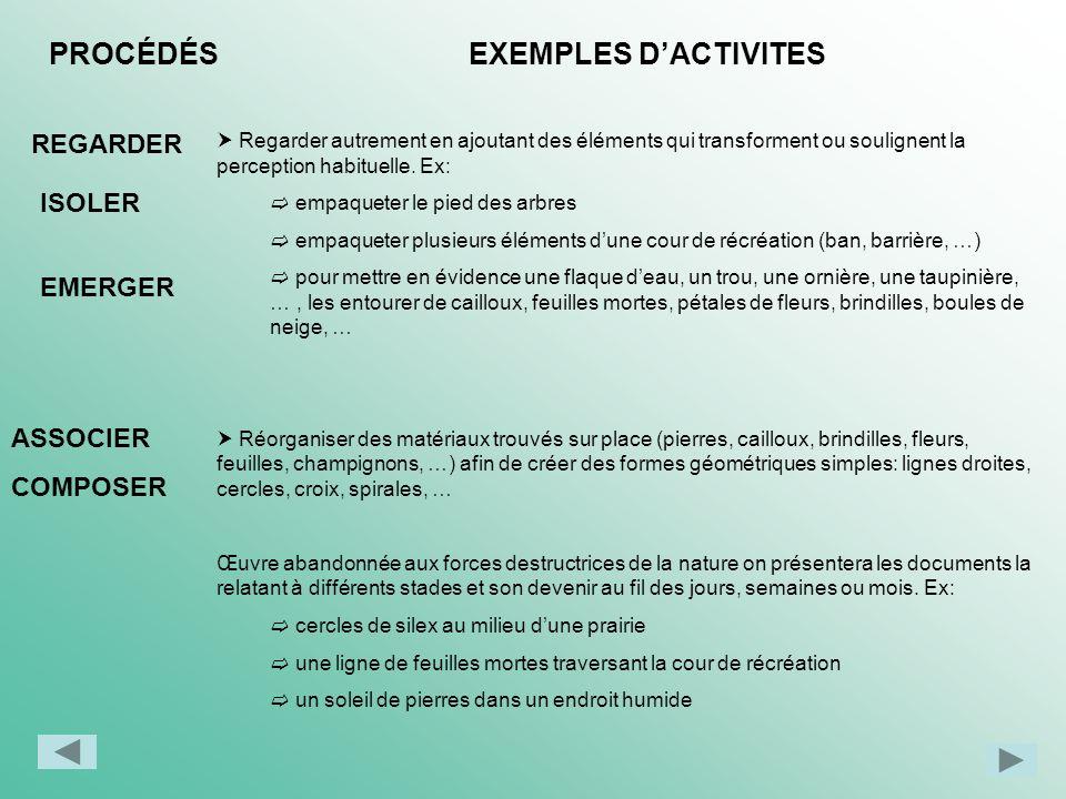 PROCÉDÉS EXEMPLES D'ACTIVITES REGARDER ISOLER EMERGER ASSOCIER