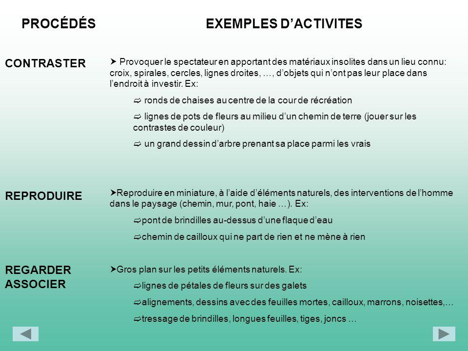 PROCÉDÉS EXEMPLES D'ACTIVITES CONTRASTER REPRODUIRE REGARDER ASSOCIER