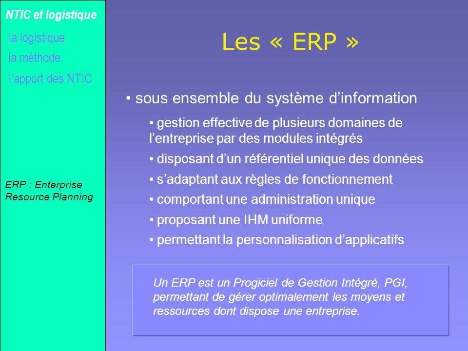 Les « ERP » sous ensemble du système d'information NTIC et logistique
