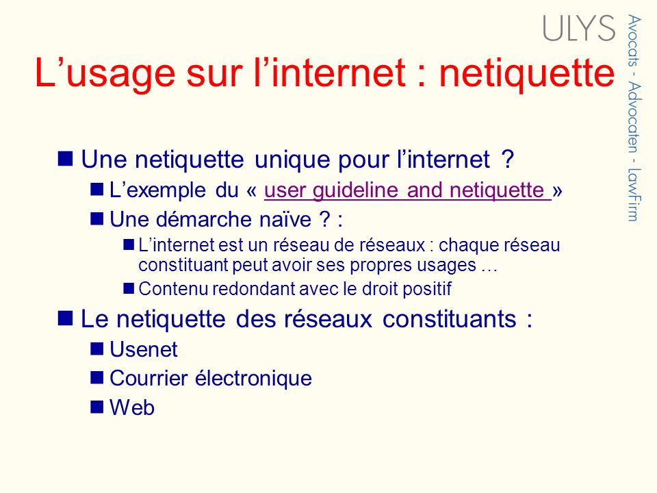 L'usage sur l'internet : netiquette