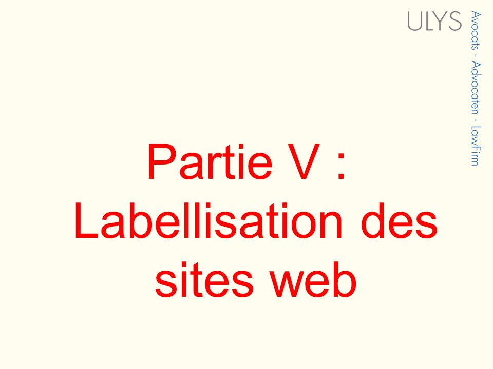 Partie V : Labellisation des sites web