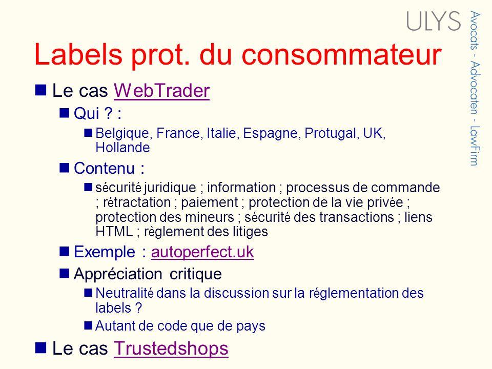 Labels prot. du consommateur