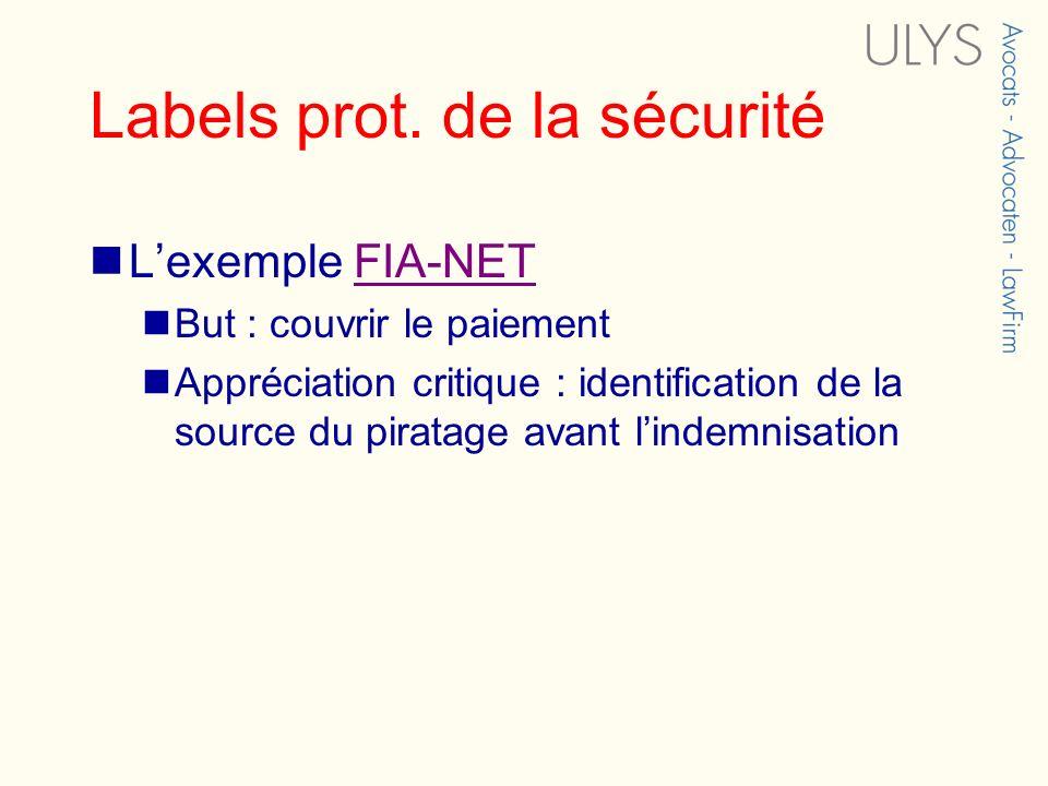 Labels prot. de la sécurité