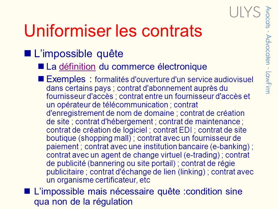 Uniformiser les contrats