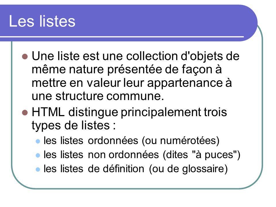 Les listes Une liste est une collection d objets de même nature présentée de façon à mettre en valeur leur appartenance à une structure commune.