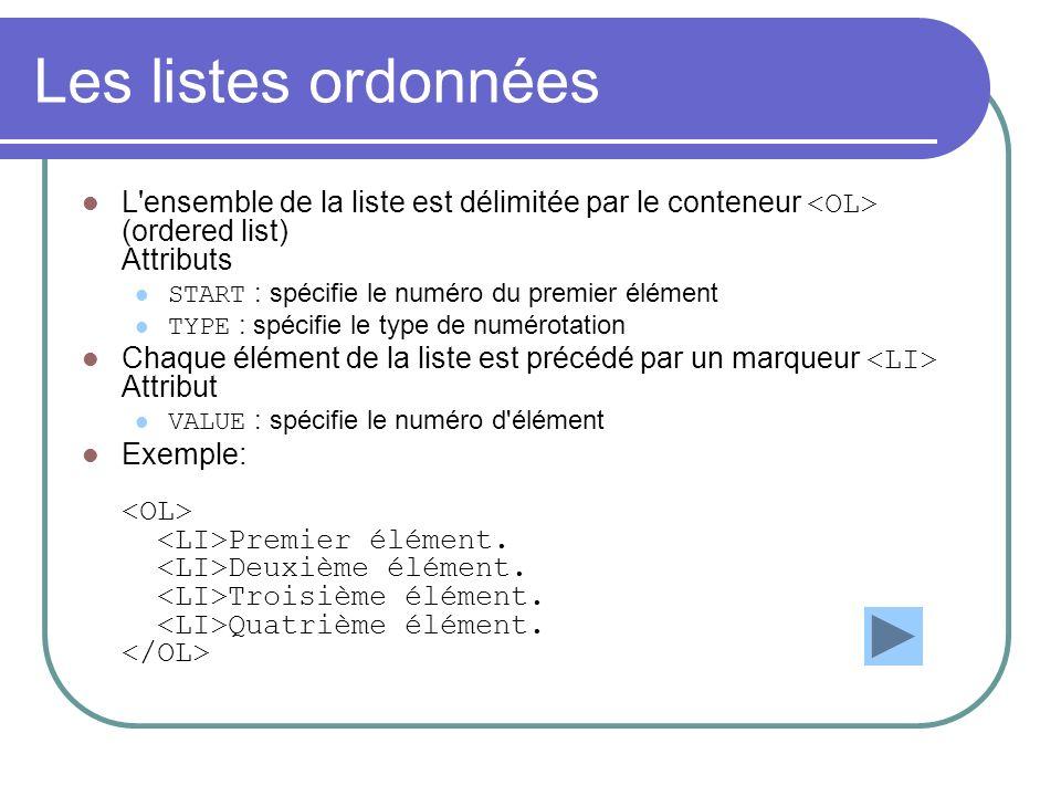 Les listes ordonnées L ensemble de la liste est délimitée par le conteneur <OL> (ordered list) Attributs.