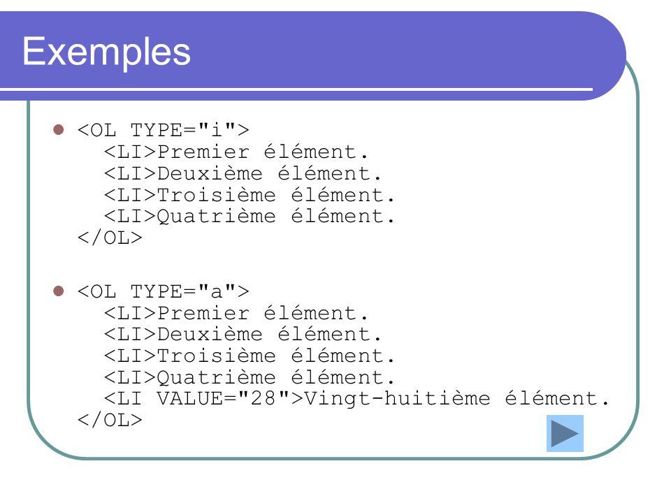 Exemples <OL TYPE= i > <LI>Premier élément. <LI>Deuxième élément. <LI>Troisième élément. <LI>Quatrième élément. </OL>