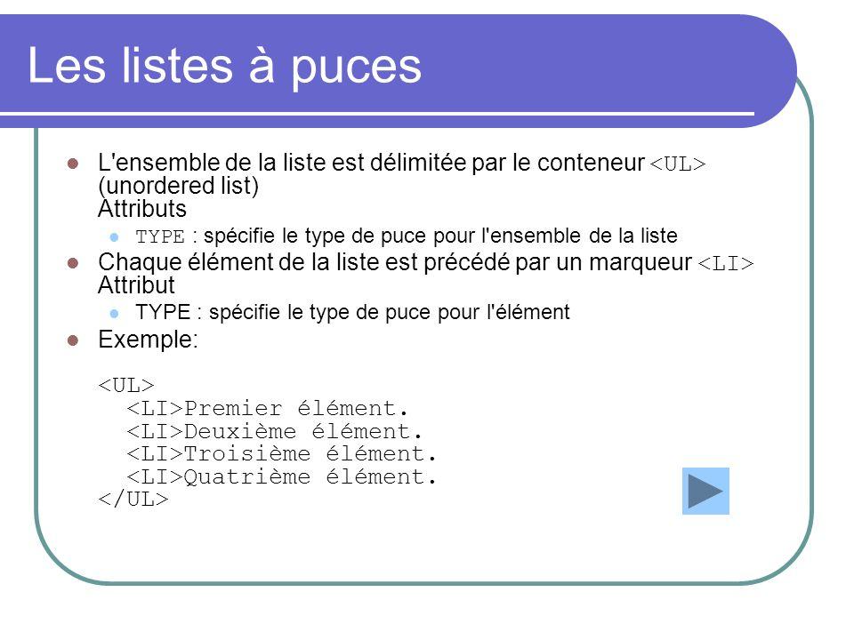 Les listes à puces L ensemble de la liste est délimitée par le conteneur <UL> (unordered list) Attributs.