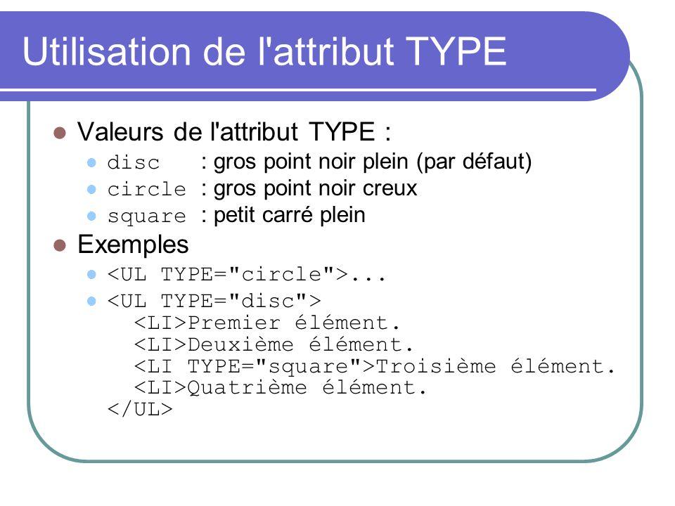 Utilisation de l attribut TYPE