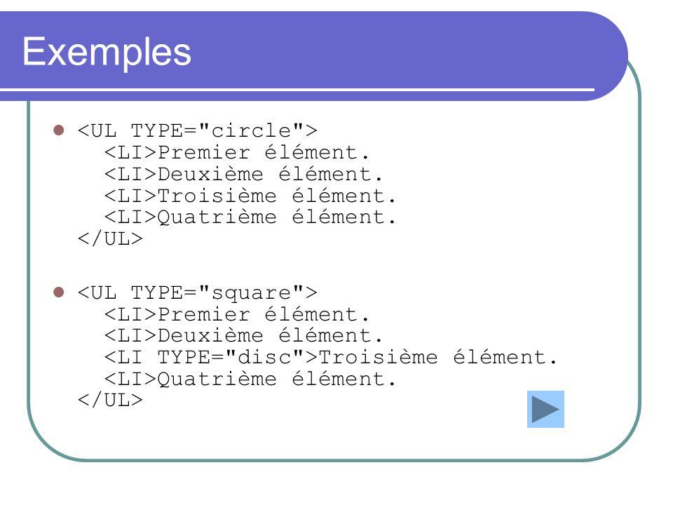 Exemples <UL TYPE= circle > <LI>Premier élément. <LI>Deuxième élément. <LI>Troisième élément. <LI>Quatrième élément. </UL>