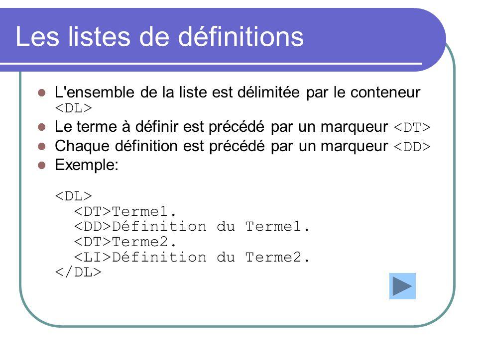 Les listes de définitions