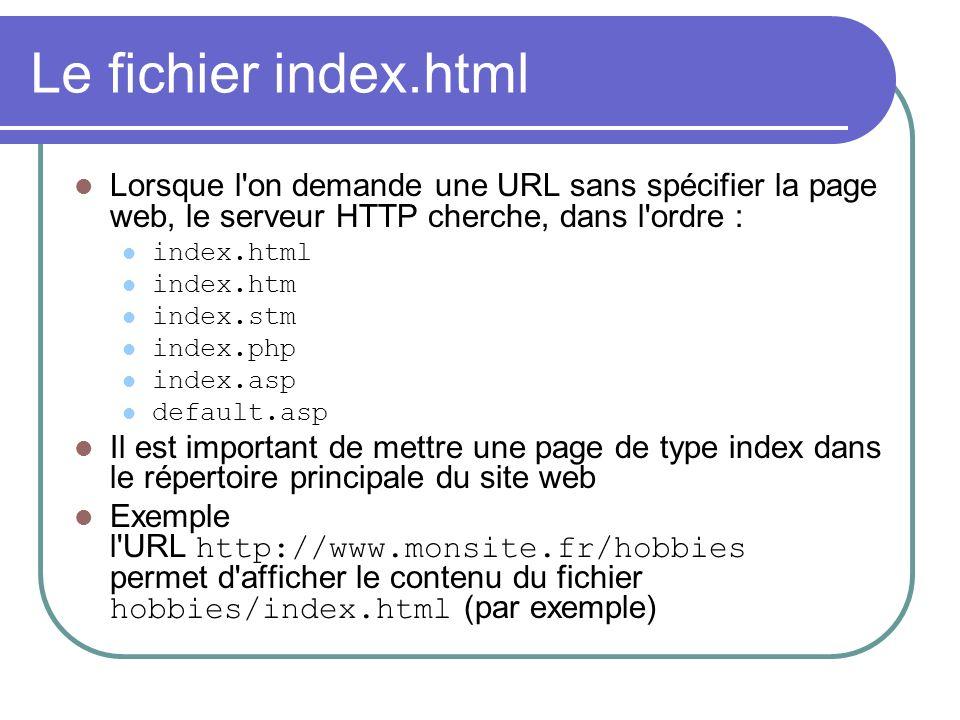 Le fichier index.html Lorsque l on demande une URL sans spécifier la page web, le serveur HTTP cherche, dans l ordre :