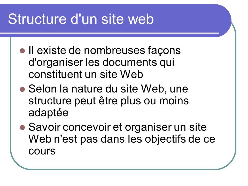 Structure d un site web Il existe de nombreuses façons d organiser les documents qui constituent un site Web.