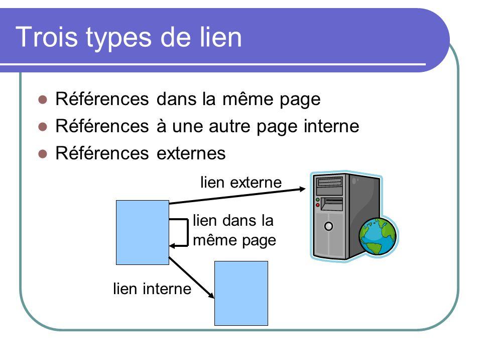 Trois types de lien Références dans la même page