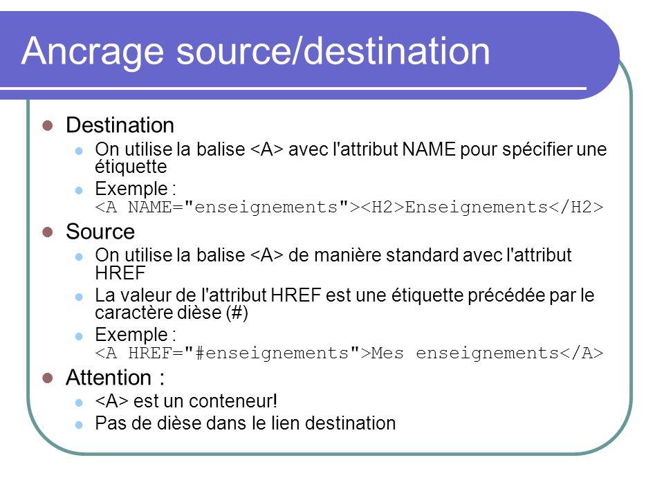 Ancrage source/destination