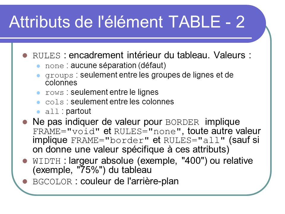 Attributs de l élément TABLE - 2