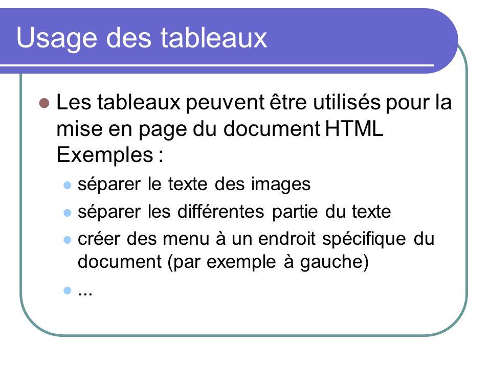 Usage des tableaux Les tableaux peuvent être utilisés pour la mise en page du document HTML Exemples :