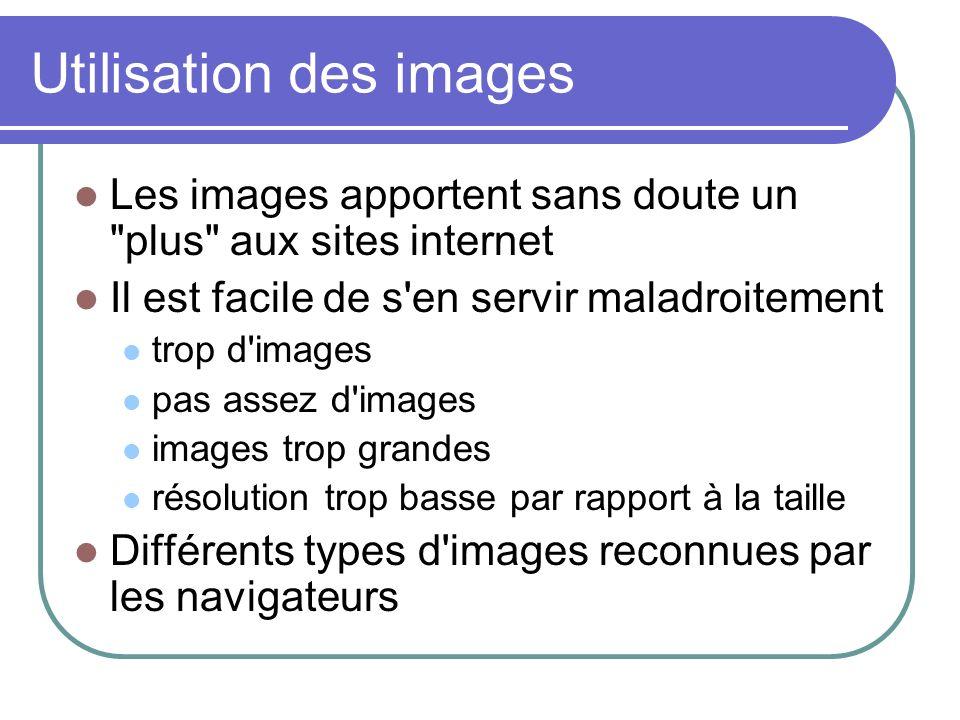 Utilisation des images