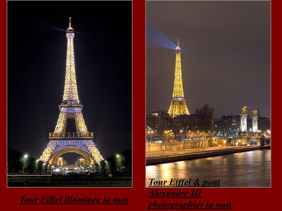 Tour Eiffel & pont Alexandre III photographiés la nuit