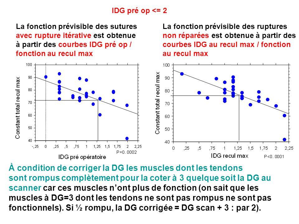 À condition de corriger la DG les muscles dont les tendons