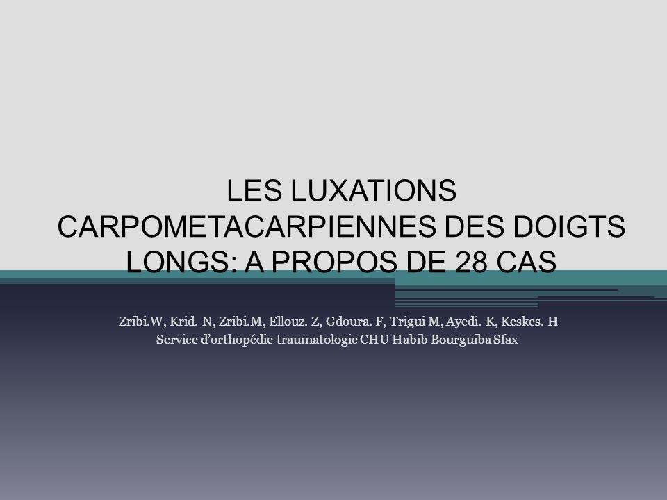LES LUXATIONS CARPOMETACARPIENNES DES DOIGTS LONGS: A PROPOS DE 28 CAS