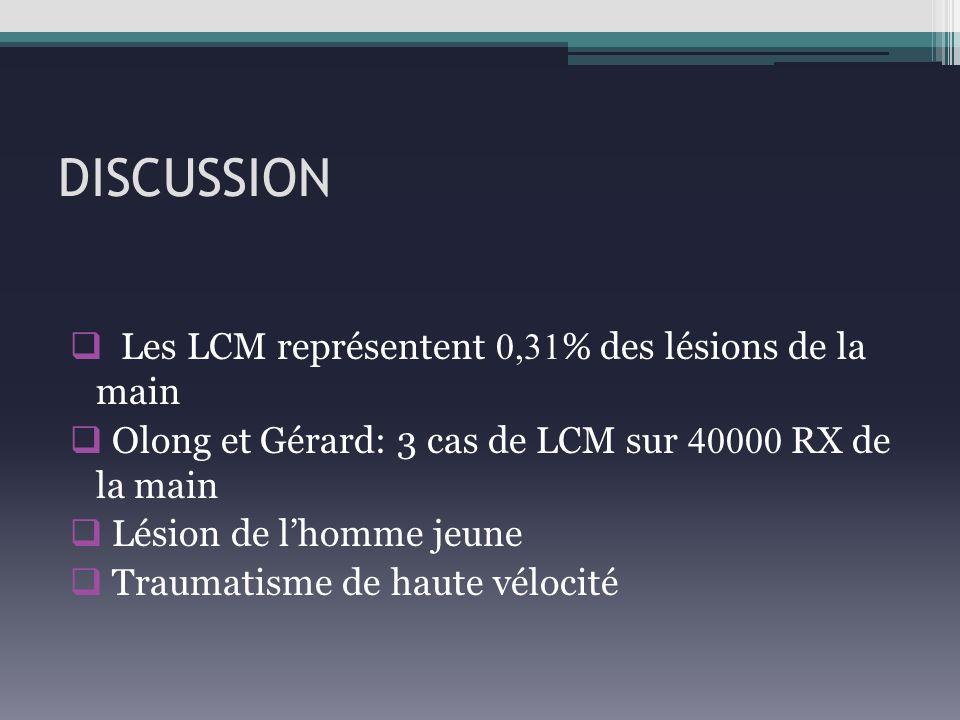 DISCUSSION Les LCM représentent 0,31% des lésions de la main