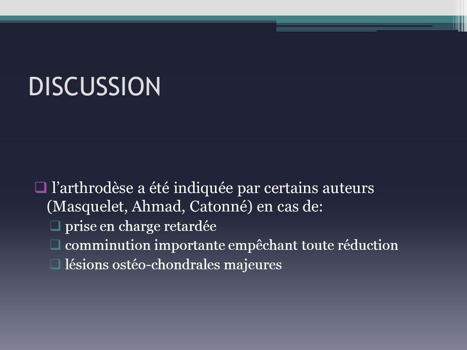 DISCUSSION l'arthrodèse a été indiquée par certains auteurs (Masquelet, Ahmad, Catonné) en cas de: