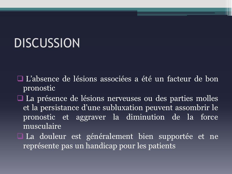 DISCUSSION L'absence de lésions associées a été un facteur de bon pronostic.