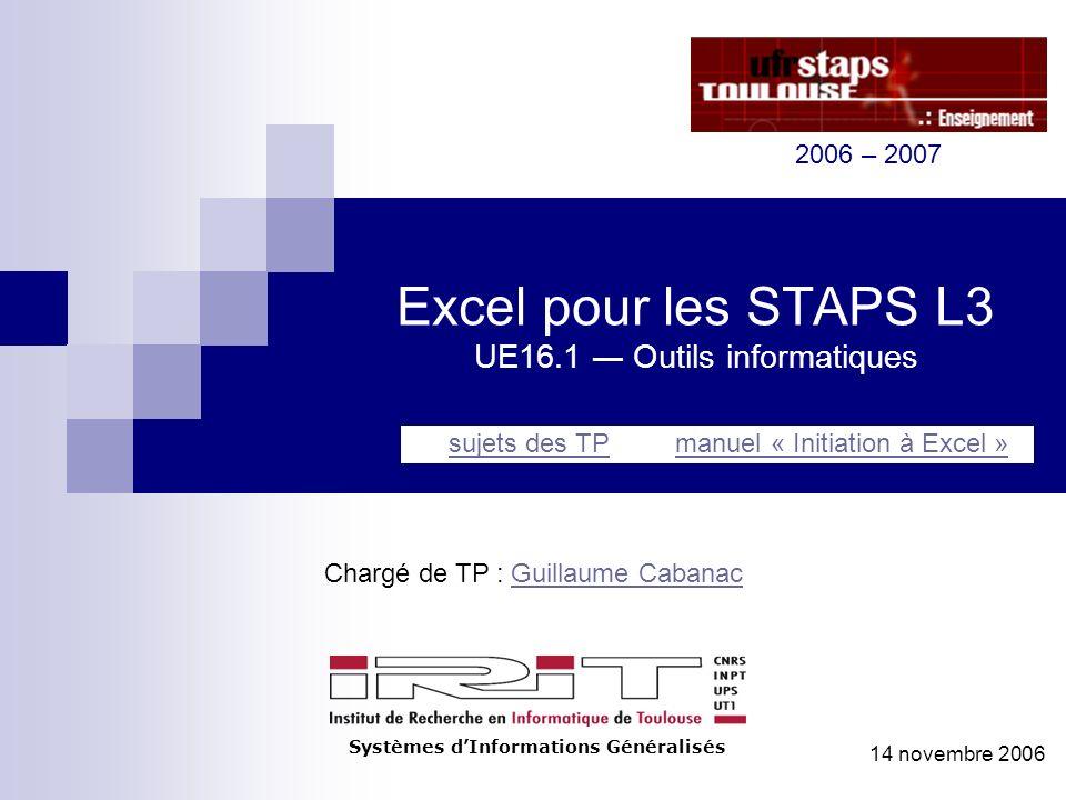 Excel pour les STAPS L3 UE16.1 ― Outils informatiques