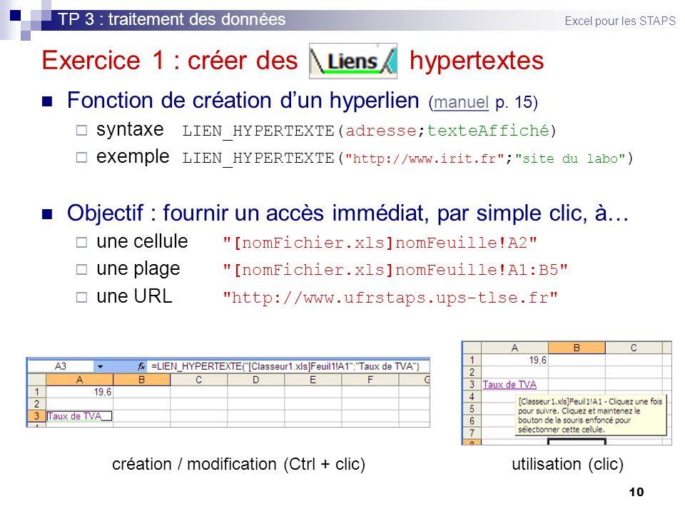 Exercice 1 : créer des hypertextes