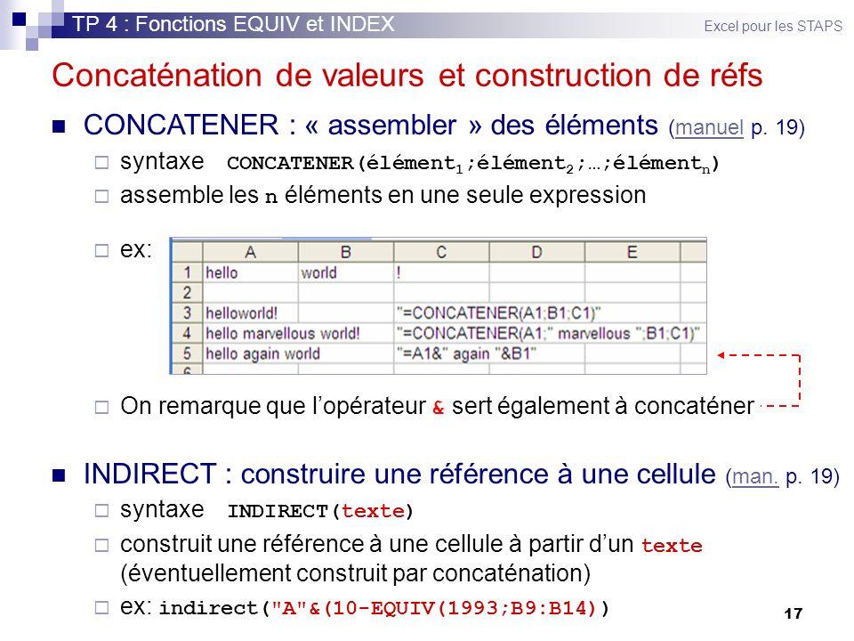 Concaténation de valeurs et construction de réfs