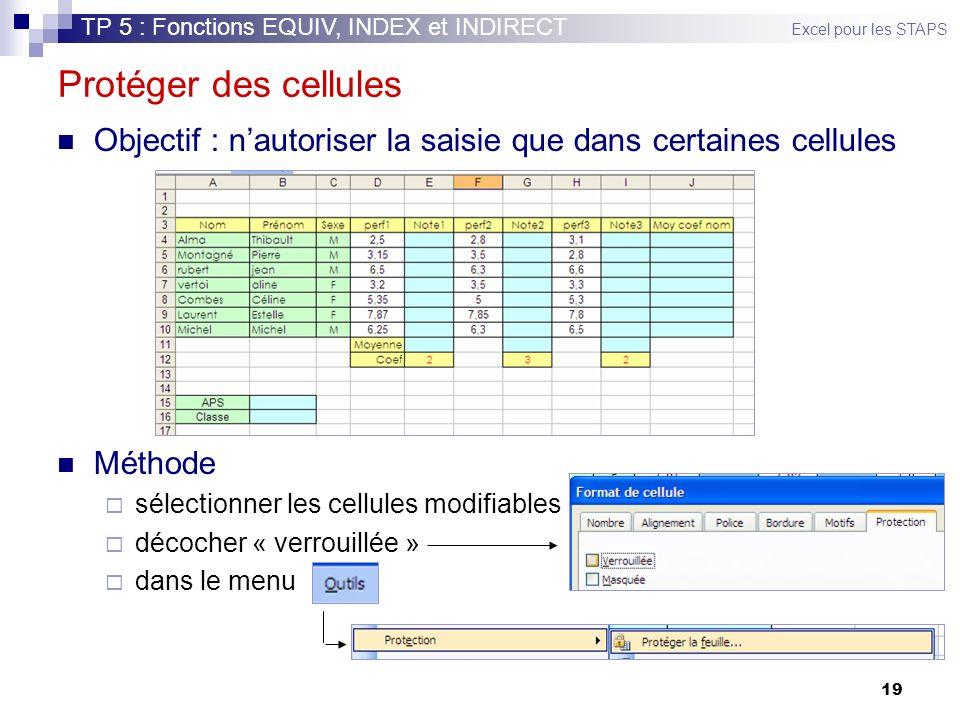 TP 5 : Fonctions EQUIV, INDEX et INDIRECT Excel pour les STAPS