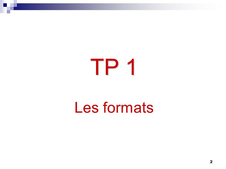 TP 1 Les formats