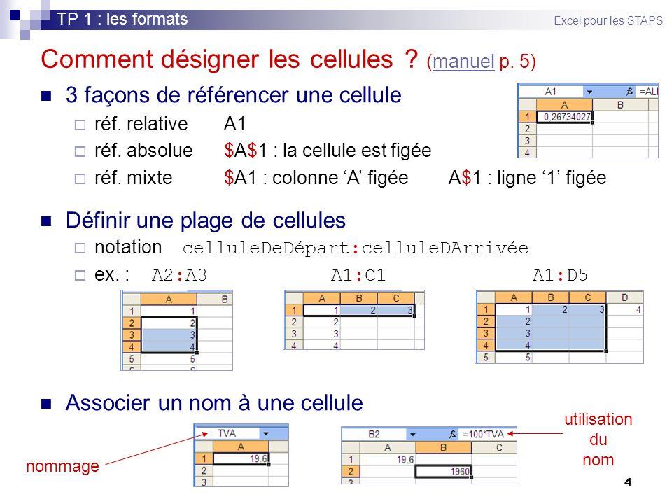 Comment désigner les cellules (manuel p. 5)